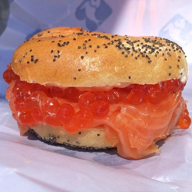 Daughters' Delight Sandwich (Gaspe Nova & Wild Salmon Roe...) at Russ & Daughters on #foodmento http://foodmento.com/place/1252