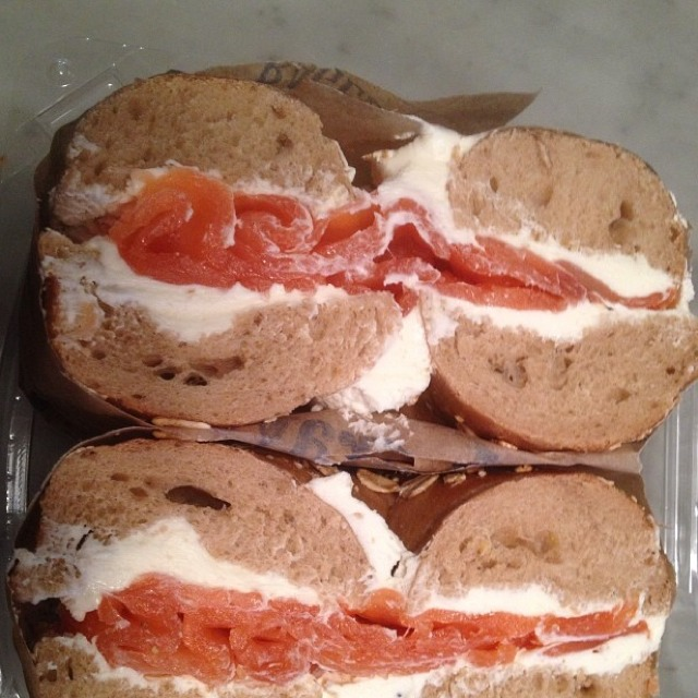 Lox (Scottish Smoked Salmon) & Cream Cheese Bagel at Murray's Bagels on #foodmento http://foodmento.com/place/2887