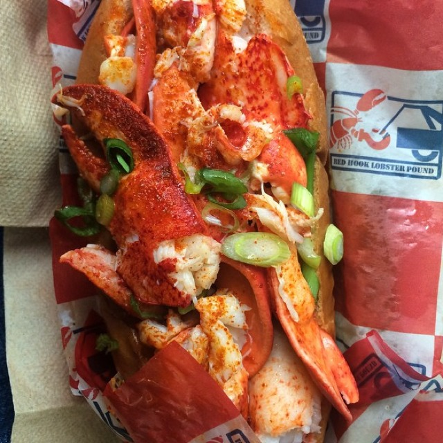 Connecticut-style Lobster Roll (Butter Soaked with Paprika and Scallion) at Red Hook Lobster Pound on #foodmento http://foodmento.com/place/3304