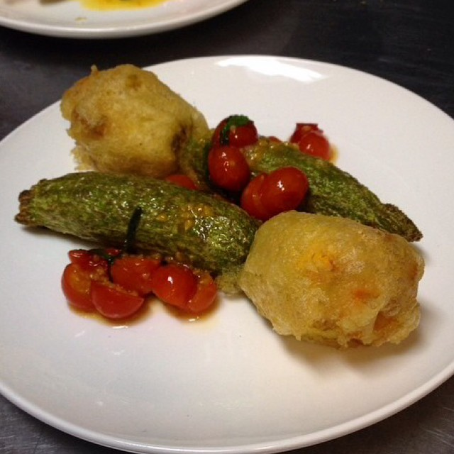 Fried Squash Blossoms stuffed w Farmer's Cheese at Delaware and Hudson (CLOSED) on #foodmento http://foodmento.com/place/4622