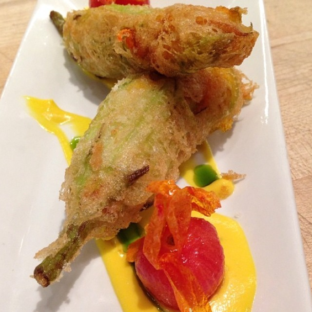 Bacalao Stuffed Zucchini Blossoms - Fried at Cata on #foodmento http://foodmento.com/place/4645
