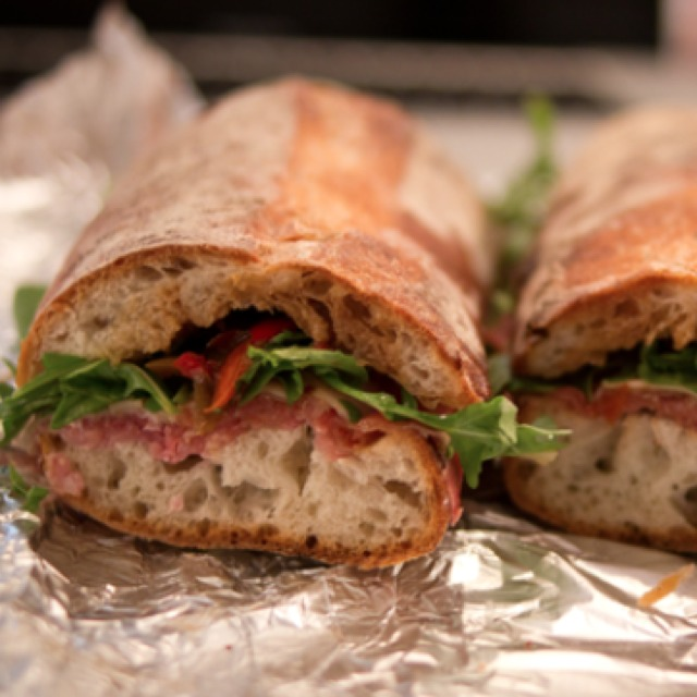 Lucia Sandwich (Prosciutto, Smoked Mozzarella, Sweet Roasted Peppers) at Alidoro on #foodmento http://foodmento.com/place/813