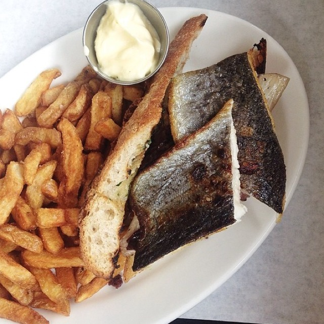 Trout Sandwich & Fries at Diner on #foodmento http://foodmento.com/place/841