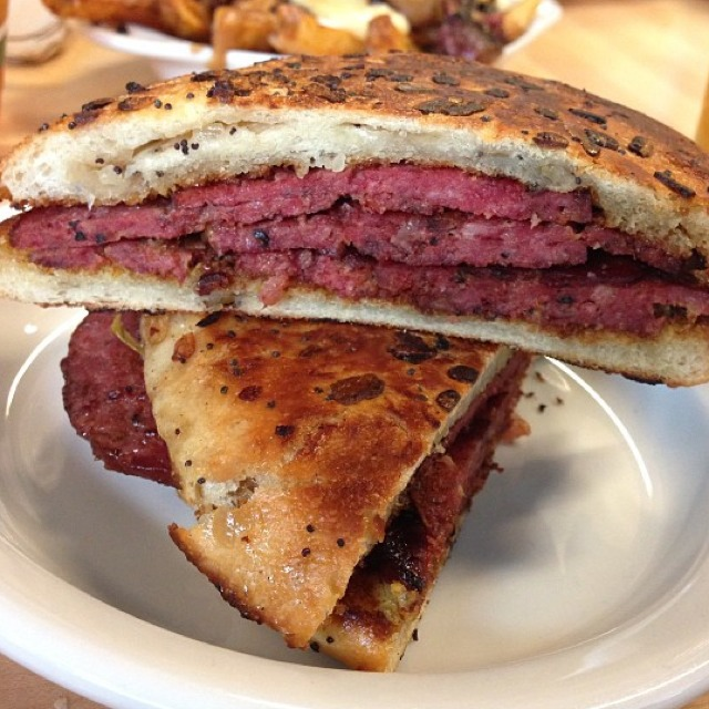 The Ruth Wilensky Sandwich (Beef Salami, Mustard, Onion Roll) at Mile End Delicatessen (CLOSED) on #foodmento http://foodmento.com/place/912