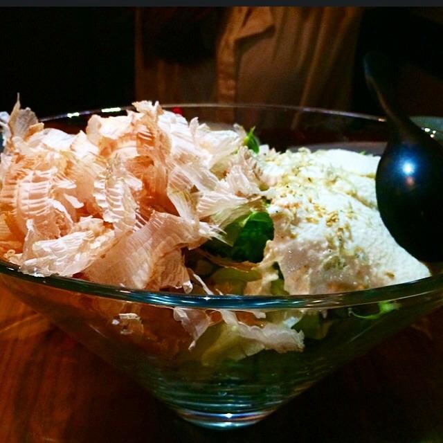 Homemade Tofu, Bonito Flakes, Wafu Dressing (Vegan) at Ootoya on #foodmento http://foodmento.com/place/2993