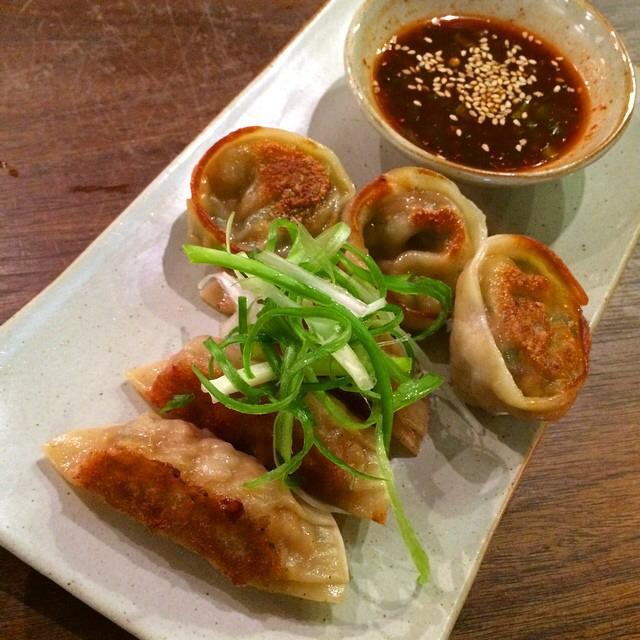 Mandoo Japchae Dumplings (pickled shiitake, glass noodle, garlic chive, and tofu) at Mōkbar on #foodmento http://foodmento.com/place/3541