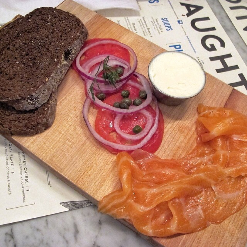 The Classic Board (Smoked Salmon, Tomato, Capers, Cream Cheese) at Russ & Daughters Café on #foodmento http://foodmento.com/place/3060