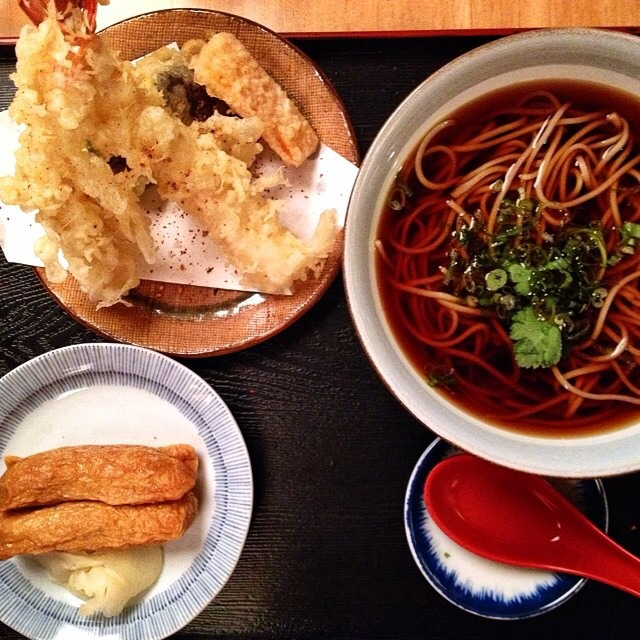3 Course Set Menu (Assorted Apps, Soba, Shrimp Tempura, Inari) at Sobaya on #foodmento http://foodmento.com/place/3327