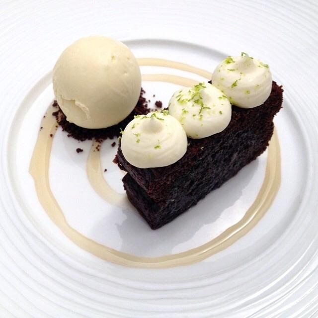 Rosie's Chocolate & Stout Cake, Lime Ice Cream on #foodmento http://foodmento.com/dish/17094