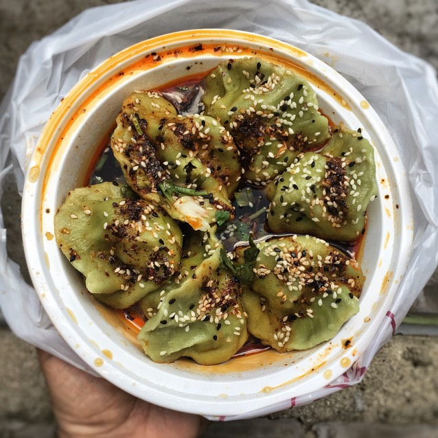 Spicy & Sour Spinach Dumplings at Xi'an Famous Foods on #foodmento http://foodmento.com/place/7119