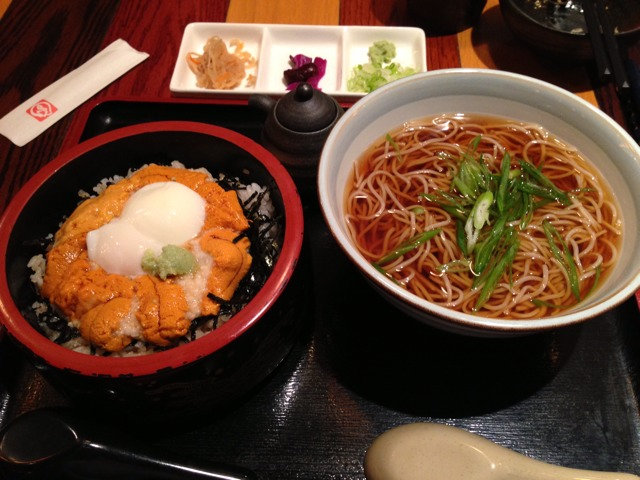 Soba Set Uni: fresh sea urchin with grated mountain yam at Soba Totto on #foodmento http://foodmento.com/place/1390