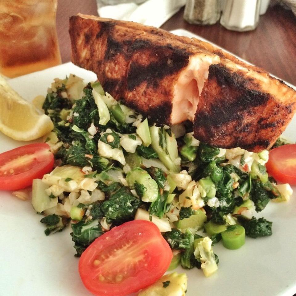 Salmon, Chopped Asparagus, Broccoli, Cauliflower, Kale...Salad at Westville East on #foodmento http://foodmento.com/place/3330