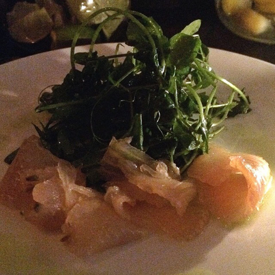 Fernet & Lavender Smoked Trout, Pea Shoots at Emily on #foodmento http://foodmento.com/place/5341