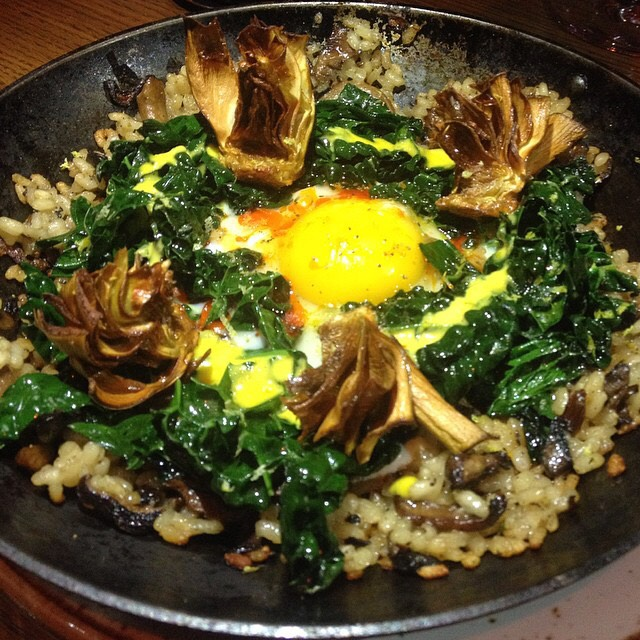 Kale Paella, Wild Mushroom, Crispy Artichoke, Egg at Gato on #foodmento http://foodmento.com/place/2849