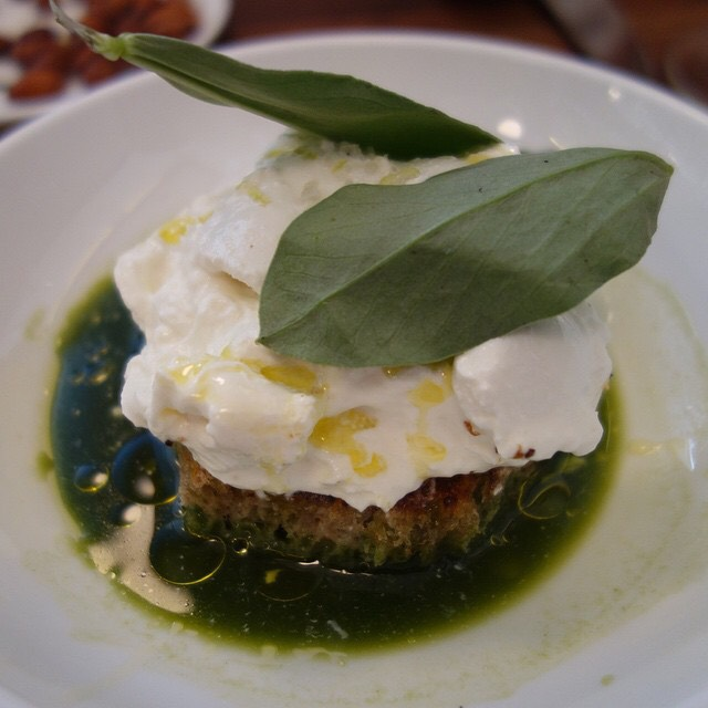 Burrata with salsa verde and charred bread at Estela on #foodmento http://foodmento.com/place/3090