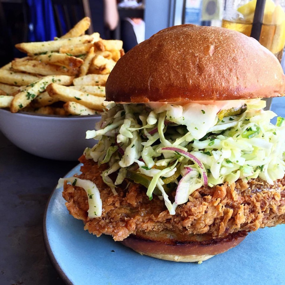 Fried Chicken Sandwich, Spicy B&B Pickle Slaw, Rooster Aioli at Son of a Gun on #foodmento http://foodmento.com/place/4003