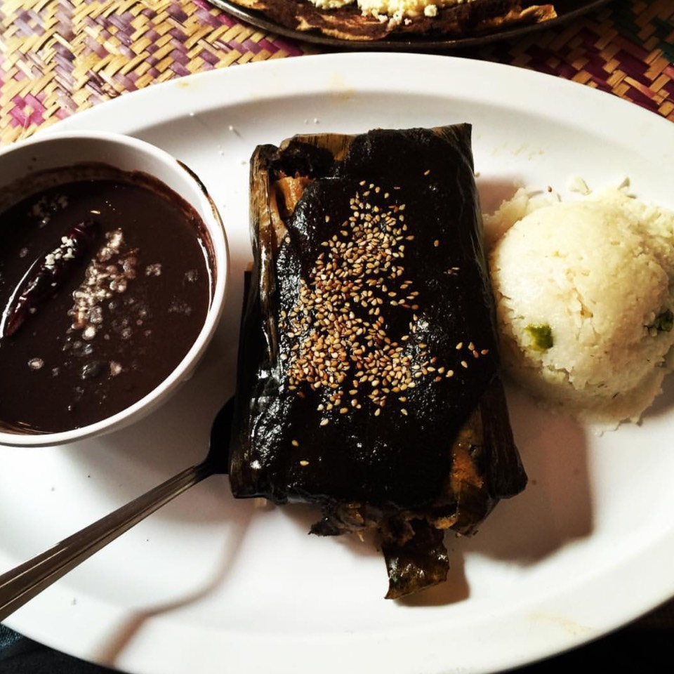 Tamal De Mole Negro En Hoja De Platano at Guelaguetza Restaurant on #foodmento http://foodmento.com/place/4431