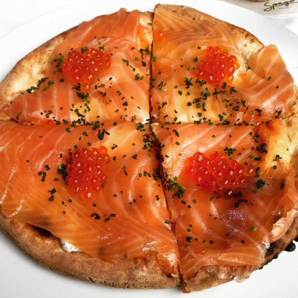 Smoked Salmon Pizza (Off Menu) at Spago Beverly Hills on #foodmento http://foodmento.com/place/8550