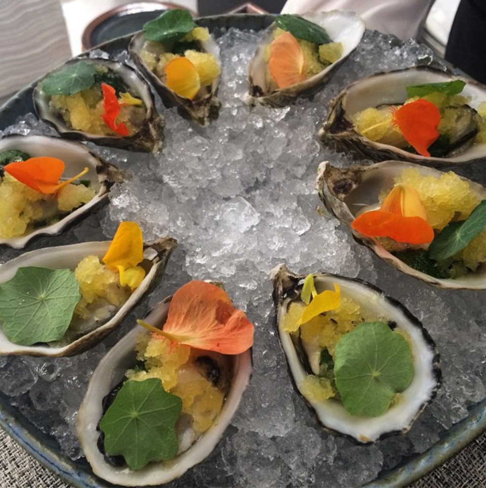 Oysters with Masturtium Pesto, Citrus Ice at Manresa on #foodmento http://foodmento.com/place/6541