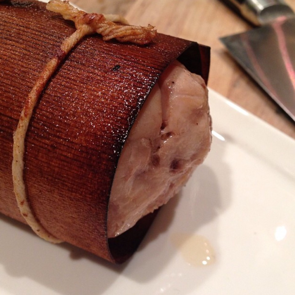 Rabbit Porchetta wrapped in wood paper at Farmhouse Inn Restaurant on #foodmento http://foodmento.com/place/6555