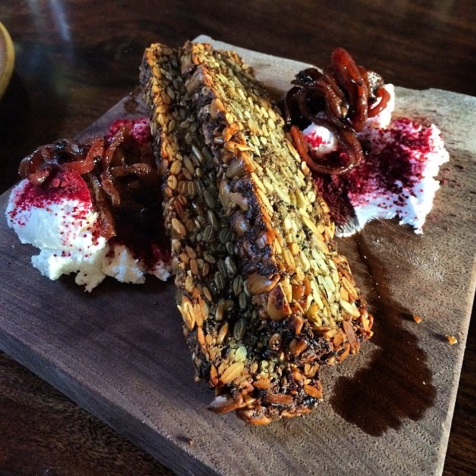 Sprouted Seed Bread, Chevre, Beet Sauerfraut (Gluten-free) at Verbena on #foodmento http://foodmento.com/place/6526