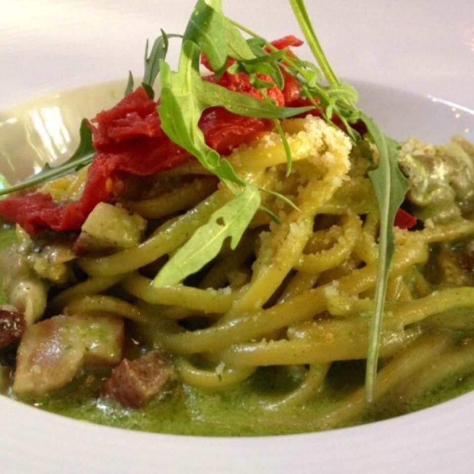 Smoked Linguine With Clam, Bacon, Tomato, Wild Arugula Pesto at SPQR on #foodmento http://foodmento.com/place/525