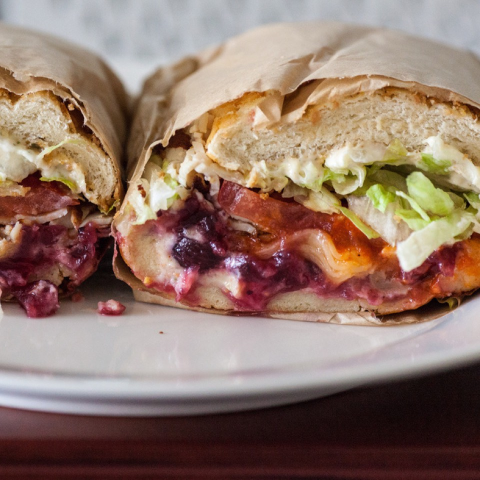 Going Home For Thanksgiving Sandwich (Cranberry Sauce, Havarti, Sriracha, Turkey) at Ike's Place (CLOSED) on #foodmento http://foodmento.com/place/569