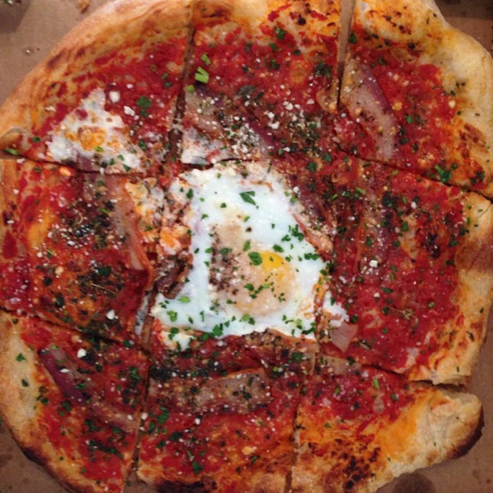 Amatriciana Pizza (tomato, pancetta, chilies, farm egg, pecorino) at Gialina Pizzeria on #foodmento http://foodmento.com/place/6667