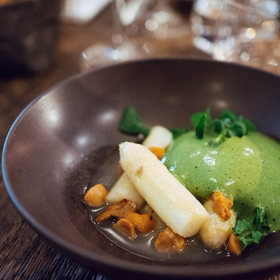 Uni, white asparagus & broth, watercress foam, roasted macadmia nuts at Septime on #foodmento http://foodmento.com/place/7331