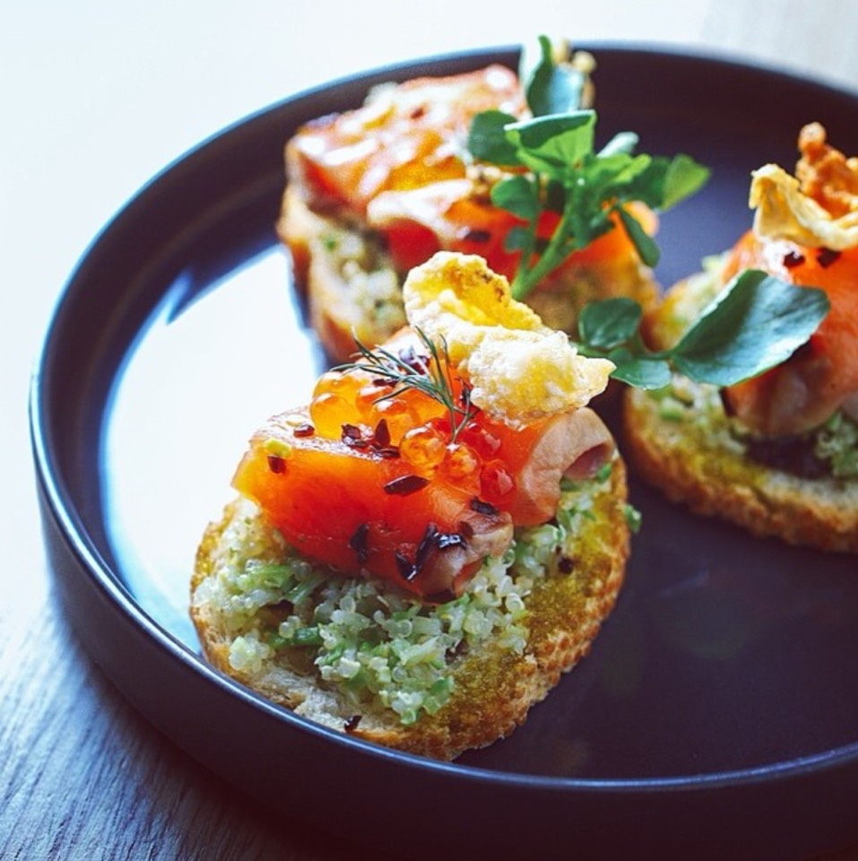Green Tea Cured Salmon Bruschetta at Tabibito on #foodmento http://foodmento.com/place/8808