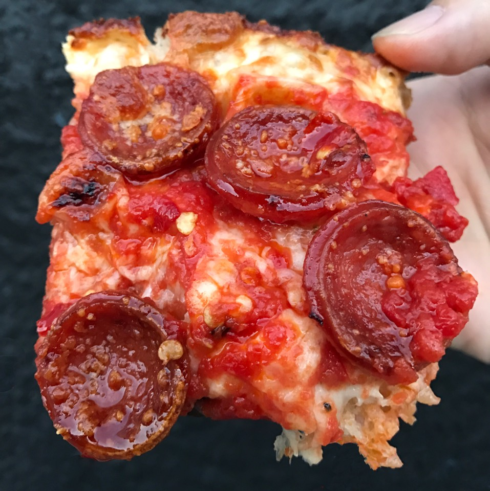 Roni Supreme Square Pizza (Pepperoni, Spicy Calabrian Chiles) at Emmy Squared on #foodmento http://foodmento.com/place/10569