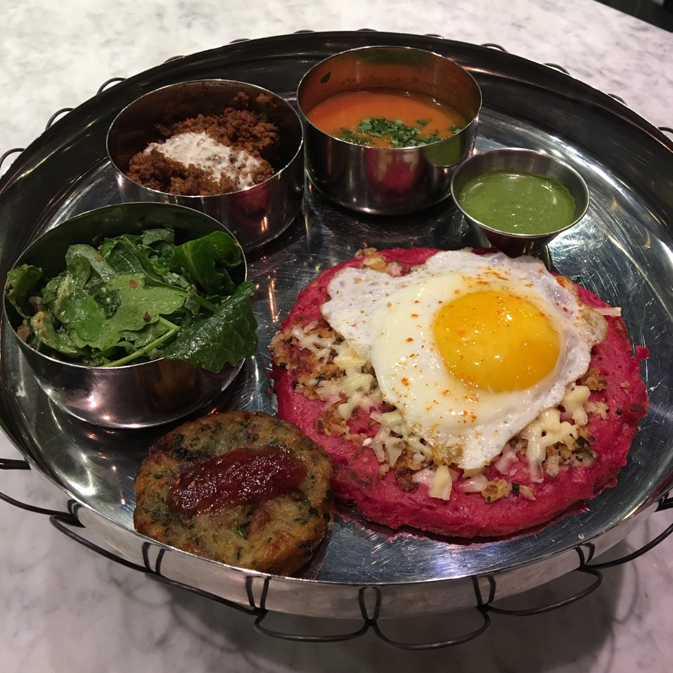 Beet Uttapam (Fermented Rice and Lentil Pancake, Fried Egg) at Pondicheri on #foodmento http://foodmento.com/place/10701