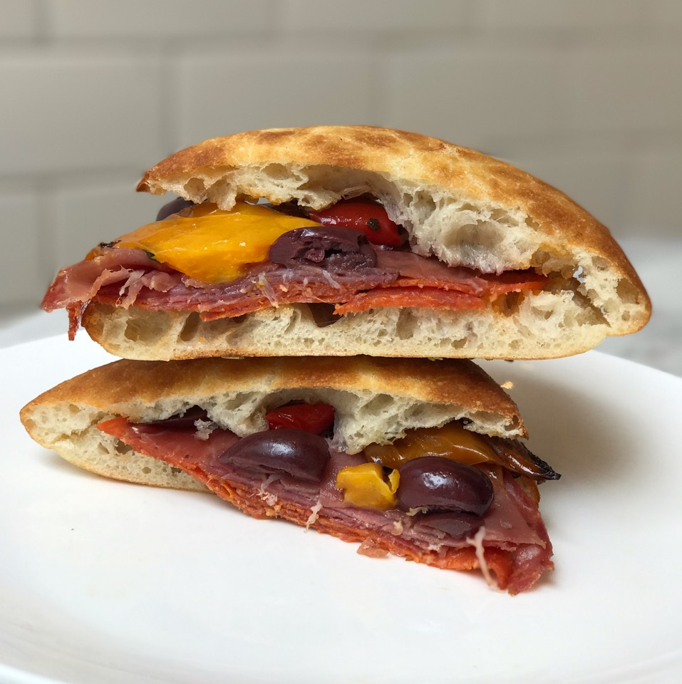 Italiano Sandwich (Sopressata, Prosciutto, Pepperoni, Roasted Pepper, Olives, Rozetta Roll) at Mangia on #foodmento http://foodmento.com/place/11171