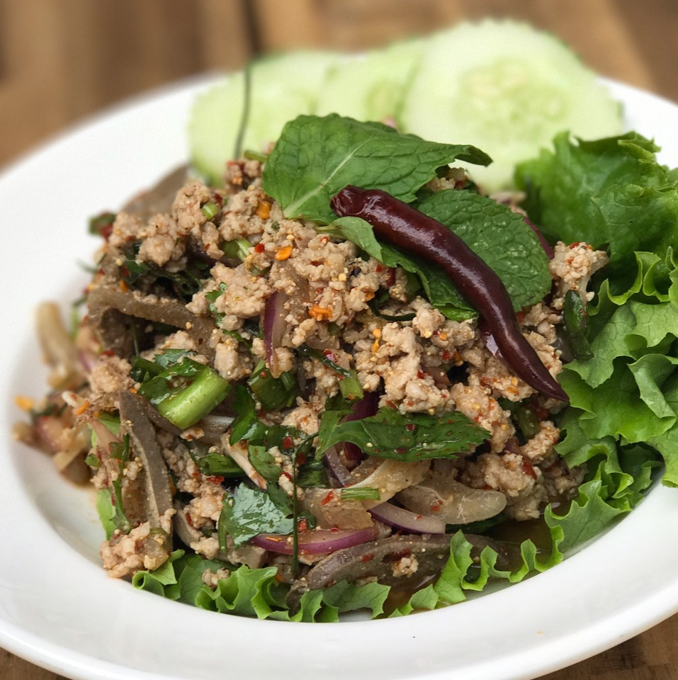 Pork Larb Salad (Ground Pork, Liver, Ears) at Hug Esan NYC on #foodmento http://foodmento.com/place/11350