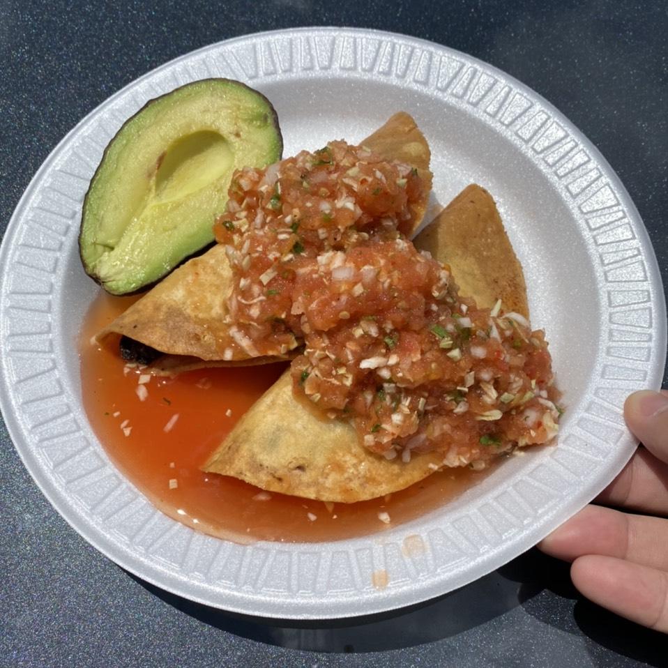 Crispy Shrimp Tacos (Tacos Dorado de Camaron) at Mariscos 4 Vientos Taco Truck on #foodmento http://foodmento.com/place/11831