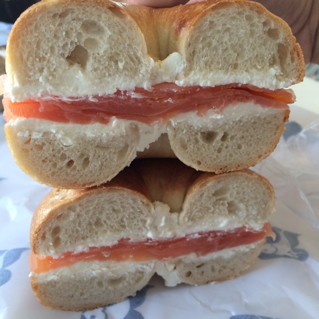 Bagel with Gaspe Nova Smoked Salmon and Cream Cheese at Russ & Daughters on #foodmento http://foodmento.com/place/1252