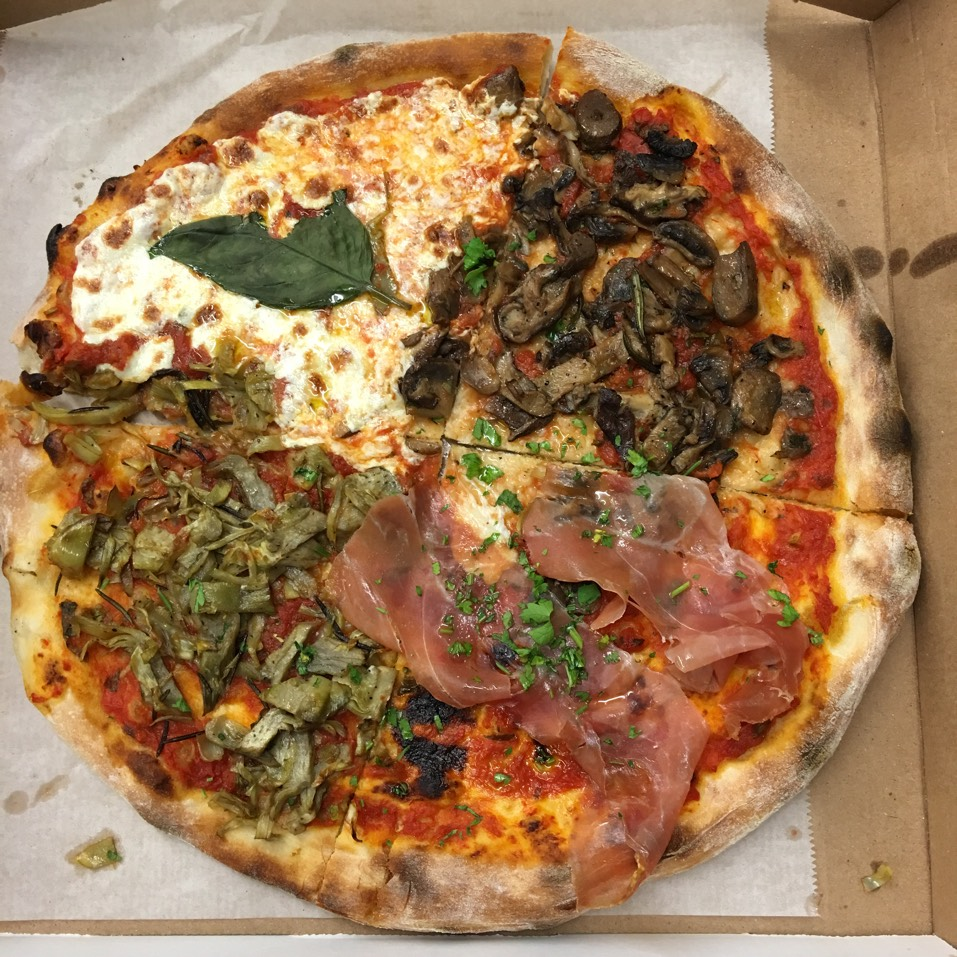 Quattro Stagioni Pizza (Prosciutto Di Parma, Mushrooms, Artichokes, Tomatoes & Mozzarella) at Celeste on #foodmento http://foodmento.com/place/1304