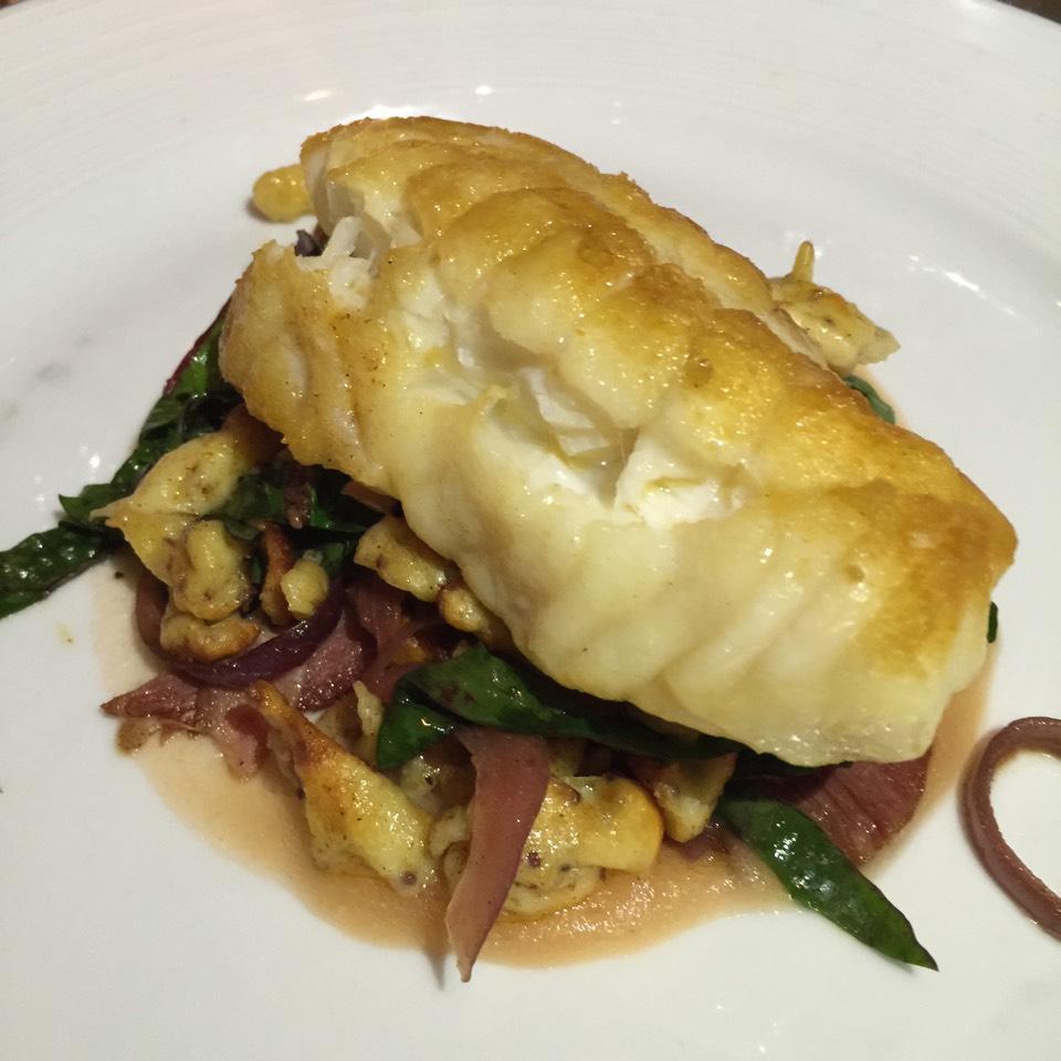 Monkfish (Spaetzle, Ham, Apple Puree) at Island Creek Oyster Bar on #foodmento http://foodmento.com/place/1464