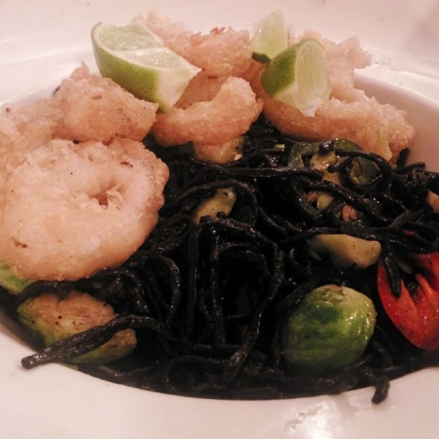 The Dark Knight (Black Squid Ink Noodles With Fried Calamari) at Thaimee Table (formerly Ngam) on #foodmento http://foodmento.com/place/1910