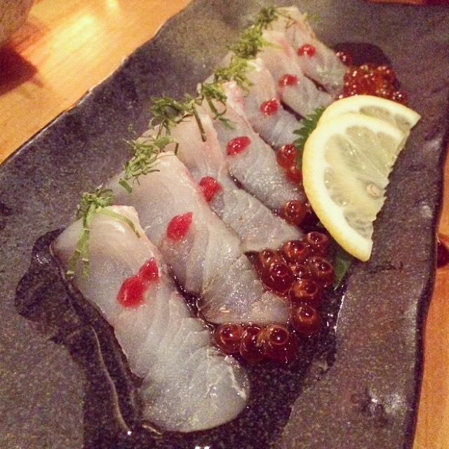 Fluke Carpaccio, Salmon Roe at Sakagura on #foodmento http://foodmento.com/place/2510