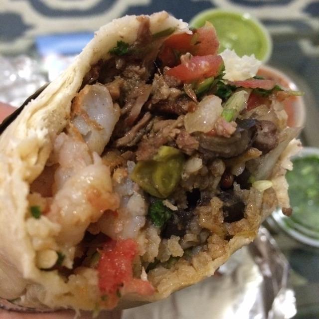 Steak & Prawns Burrito at Pancho Villa Taqueria on #foodmento http://foodmento.com/place/2528