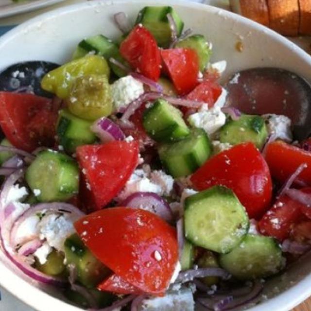 Peasant Salad (Cucumbers, Kalamata Olives, Onions, Tomatoes, Feta) at Taverna Kyclades on #foodmento http://foodmento.com/place/2758