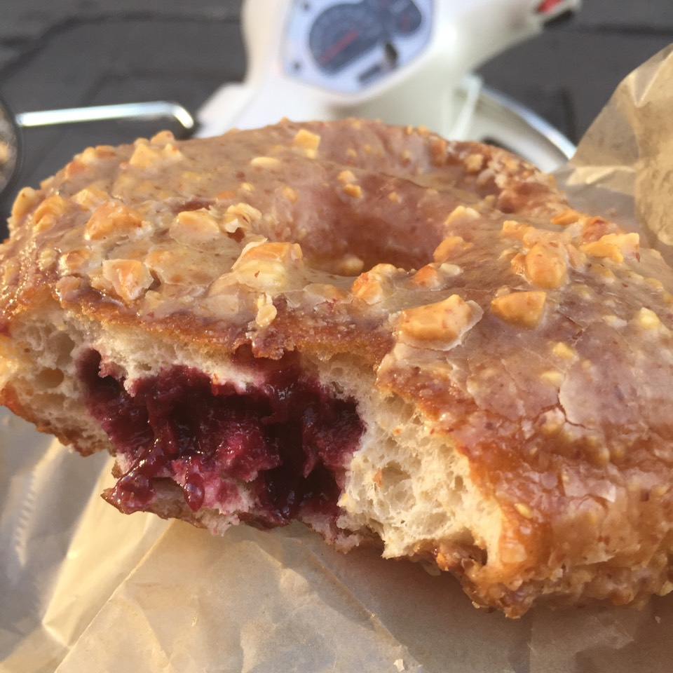Peanut Butter & Berry Jam Doughnut at Doughnut Plant on #foodmento http://foodmento.com/place/2869