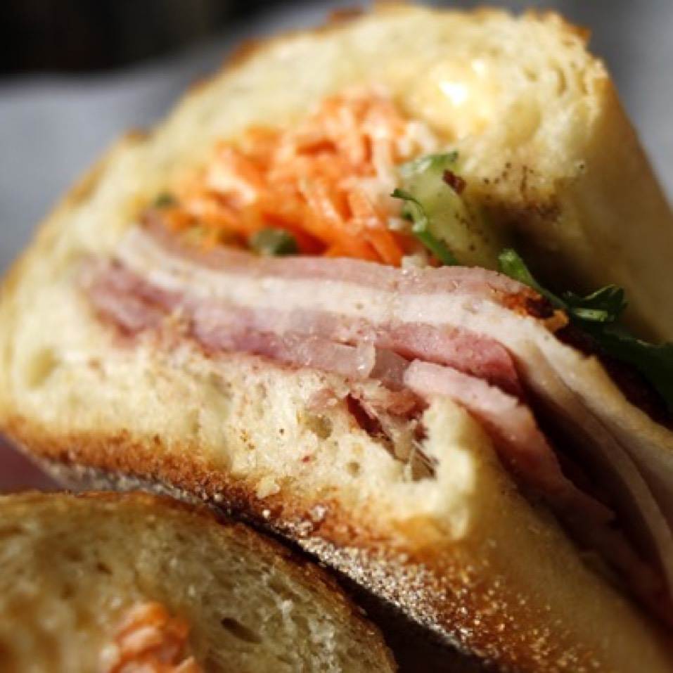 Super Cub Classic Sandwich (BBQ Pork, Head Cheese, Pork Roll, Pate) at Xe Máy Sandwich Shop on #foodmento http://foodmento.com/place/2883