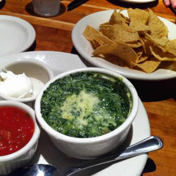 The Rockefeller: Spinach & Artichoke Dip with Tortilla Chips & Salsa at Hillstone on #foodmento http://foodmento.com/place/296