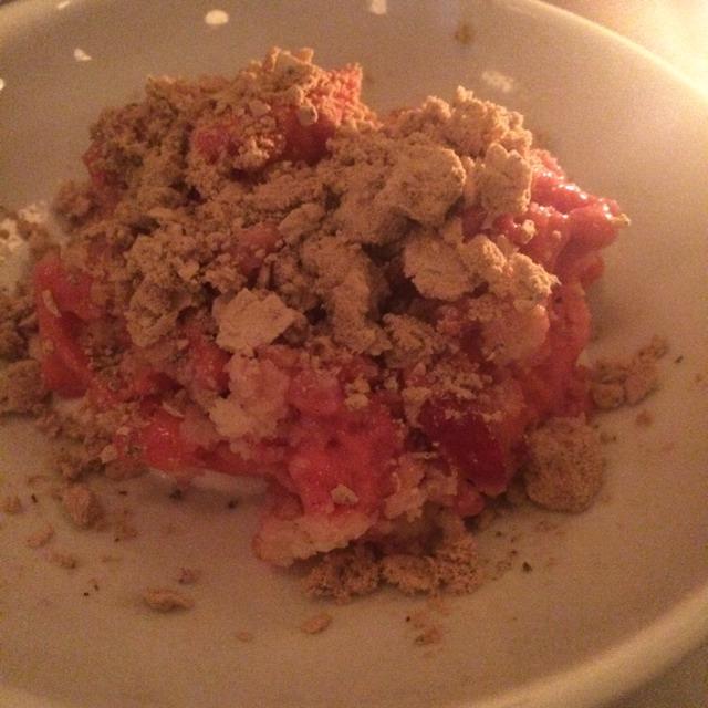 Strawberry Sorbet With Rhubarb & Green Tea Meringue at Estela on #foodmento http://foodmento.com/place/3090