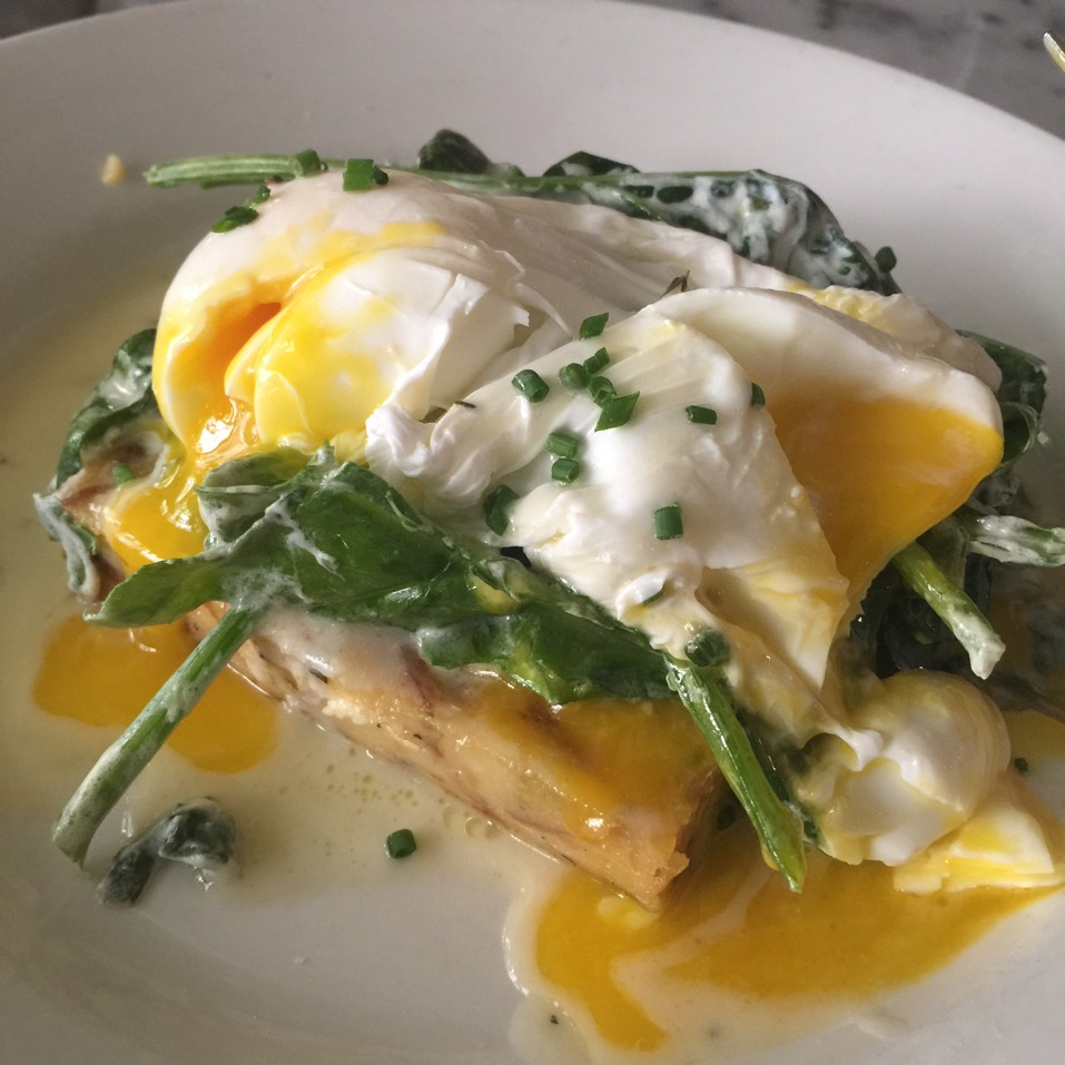 Goat Cheese-Sage Bread Pudding, Poached Eggs, Wilted Spinach, Lemon Butter (Brunch) at Hundred Acres (CLOSED) on #foodmento http://foodmento.com/place/3175
