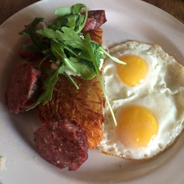 Saucisson A L'ail Pork And Garlic Sausage, Fried Eggs, Hash Brown, Creme Fraiche And Arugula at Joseph Leonard on #foodmento http://foodmento.com/place/3193