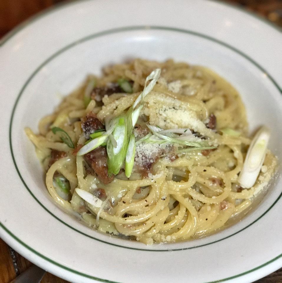 Chitarra Alla Carbonara (bacon, egg, cheese) at Rosemary's Enoteca & Trattoria on #foodmento http://foodmento.com/place/3228