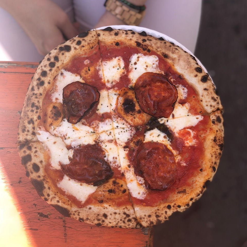 Bee Sting Pizza (Soppressata) @ Roberta's at Mad. Sq. Eats (SEASONAL) on #foodmento http://foodmento.com/place/3267